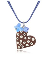 Dolci Gioie - Blue Chocolate Heart Cake Pendant W/lace - Lyst