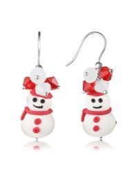 Dolci Gioie - Brown Snowman Pendant Earrings With Crystals - Lyst