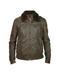 FORZIERI | Men's Dark Brown Shearling Collar Bomber Leather Jacket for Men | Lyst