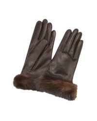 FORZIERI | Women's Dark Brown Italian Nappa Leather Gloves W/mink Fur | Lyst