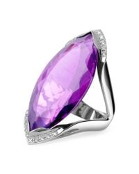 FORZIERI - Amethyst And Diamond White Gold Fashion Ring - Lyst