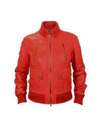 FORZIERI | Women's Red Leather Bomber Jacket | Lyst