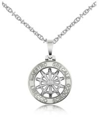 FORZIERI - Gray Stainless Steel Cutout Rudder Pendant Necklace for Men - Lyst