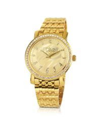 Just Cavalli - Metallic Moon - Champagne Zebra Dial Watch With Crystal Bezel - Lyst