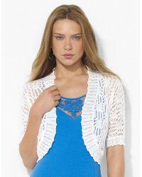 Lauren by Ralph Lauren | White Pointelle knit Linen Shrug | Lyst