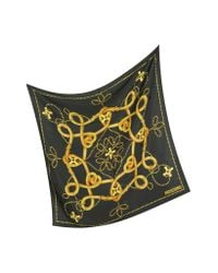 Moschino - Metallic Archivio - Black and Gold Silk Square Scarf - Lyst