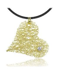 Orlando Orlandini - Diamond 18k Yellow Gold Heart Pendant W/lace - Lyst