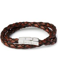 Tateossian | Brown Double-Wrap Scoubidou Leather Bracelet With Silver Clasp - For Men | Lyst