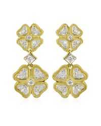 Torrini | Green Quadrifoglio Diamond Four-leaf Clover 18k Gold Earrings | Lyst