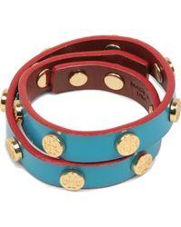 Tory Burch | Blue Doublewrap Logo Stud Bracelet | Lyst
