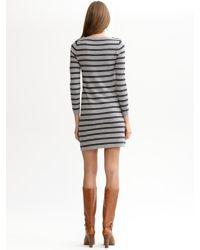 Banana Republic | Gray Striped Sweater Dress | Lyst