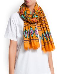 Mango - Orange Ethnic Print Cotton Foulard - Lyst