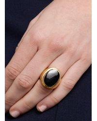 Mango - Black Oval Stone Ring - Lyst