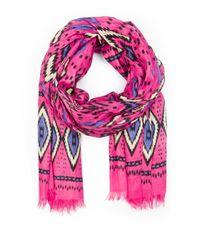 Mango | Pink Ethnic Print Cotton Foulard | Lyst