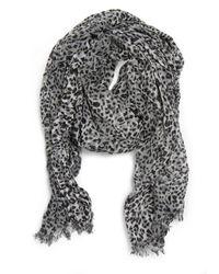 Mango - Gray Leopard Print Scarf - Lyst