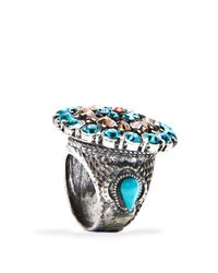Mango - Blue Vintage Style Ring - Lyst