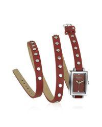 FORZIERI | Nina - Red Leather Wrap Bracelet Watch | Lyst