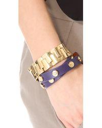 Tory Burch - Metallic Skinny T Stretch Bracelet - Lyst