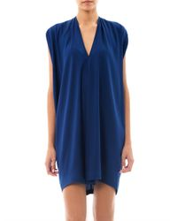 Vince | Blue Double Vneck Silk Dress | Lyst