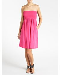 John Lewis - Pink Bandeau Beach Dress - Lyst