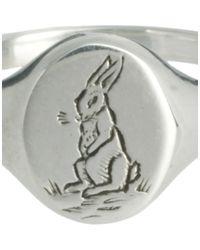 ALDO - Metallic Laura Lee Small Engraved Rabbit Signet Ring - Lyst