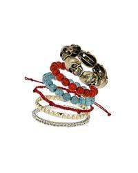TOPSHOP - Multicolor Skull Bead Bracelet Pack - Lyst