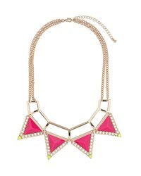 TOPSHOP - Pink Triangle Collar Necklace - Lyst