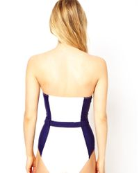 ASOS | White Contrast Panel Belted Bandeau Swimsuit | Lyst