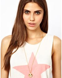 Wildfox - Metallic Shell Pearl Necklace - Lyst