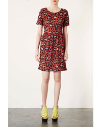 TOPSHOP - Tall Red Leopard Mini Dress - Lyst