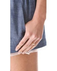 Jacquie Aiche | Metallic Ja Double Baguette Open Ring - Yellow Gold | Lyst