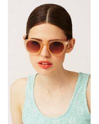 TOPSHOP - Orange Metal Arm Round Sunglasses - Lyst