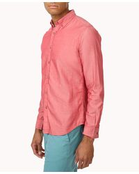 Forever 21 - Pink Slim Fit Plaid Trim Button Down for Men - Lyst