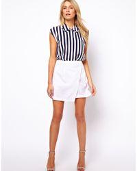 Asos Linen Mini Skirt with Wrap Detail in White | Lyst