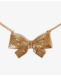 Forever 21 - Metallic Checkered Bow Necklace - Lyst