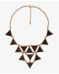 Forever 21 - Black Faux Leather Triangle Charm Necklace - Lyst