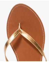 Forever 21 - Metallic Faux Leather Thong Sandals - Lyst