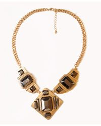Forever 21 - Metallic Bejeweled Bib Necklace - Lyst