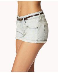 Forever 21 | Blue Everyday Denim Shorts W/ Belt | Lyst