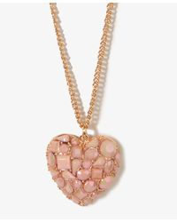 Forever 21 - Pink Bejeweled Heart Chain Necklace - Lyst