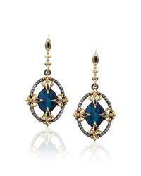Armenta | Blue Midnight Fleur De Lis Opal Earrings | Lyst