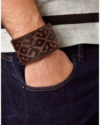 ASOS | Brown Embossed Leather Cuff for Men | Lyst