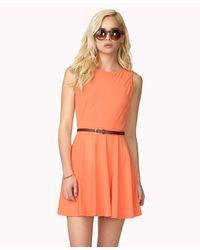 Forever 21 - Pink Paneled A-Line Dress W/ Skinny Belt - Lyst