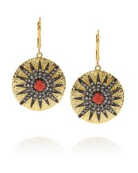 Kenneth Jay Lane | Metallic Plated Cubic Zirconia and Cabochon Earrings | Lyst