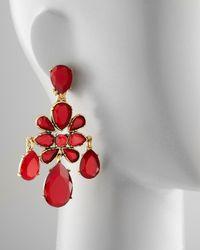 Oscar de la Renta | Red Crystal Chandelier Earrings | Lyst