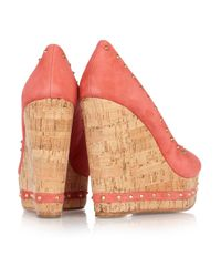 Paloma Barceló | Pink Menorca Studded Suede and Cork Wedge Sandals | Lyst