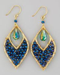 Panacea - Blue Beaded Crystal Drop Earrings - Lyst