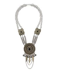 TOPSHOP - Blue Tusk and Bead Necklace - Lyst