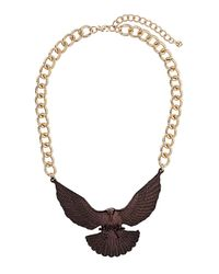 TOPSHOP - Metallic Bronze Eagle Collar Necklace - Lyst