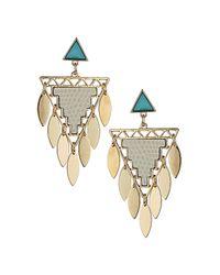 TOPSHOP - Blue Triangle Leaf Geo Earrings - Lyst